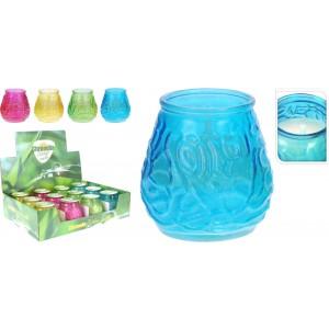 Sviečka Citronella v sklenenej fľaške proti komárom mix farieb 34340