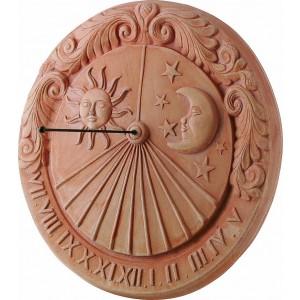 Terakotová dekorácia na stenu ako slnečné hodiny so slnkom a mesiacom 43 cm 34954