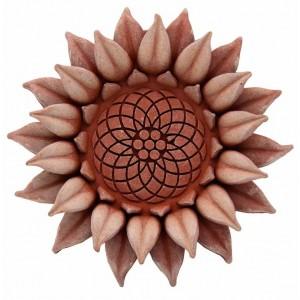 Terakotová dekorácia na stenu kvet slnečnica 15 cm 34480