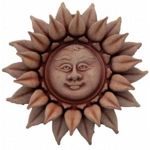 Terakotová dekorácia na stenu kvet slnečnica s tvárou 15 cm 34481