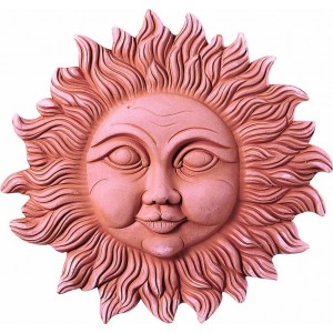 Terakotová dekorácia na stenu slnko s tvárou 18 cm 30812
