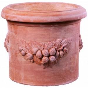 Terakotový kvetináč zdobený venčekom z ovocia 55 cm 34458