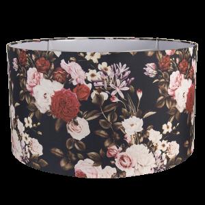 Tmavé textilné tienidlo s farebnými kvetinami Clayre & Eef 34552