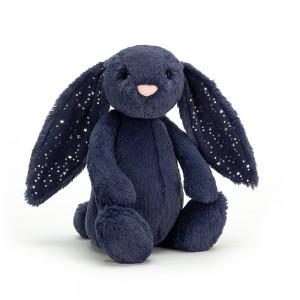 Tmavomodrý plyšový zajačik s hviezdičkami na uškách Jellycat Bashful Stardust Bunny 31 cm 33488