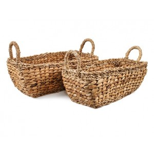 Truhlíkový košík z morskej trávy v prírodnej farbe s pleteným dekorom a s uškami malý 34932