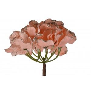 Umelá marhuľová hortenzia s trblietkami na dlhej stonke 13 x 60 cm 35569