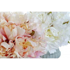 Umelé pivónie ružové alebo biele v kovovom sivom kvetináči 25x30 cm 32745