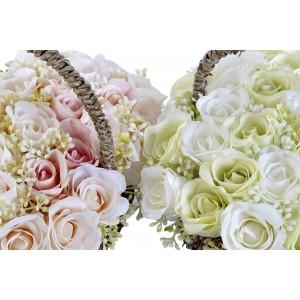 Umelé ružičky v košíku 26x26x20cm 32744