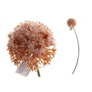 Umelý cesnakový kvet oranžovej farby na stonke 66 cm 35191