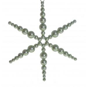 Vianočná ozdoba na zavesenie zelená v tvare hviezdy s trblietkami 16 x 16 cm 35566