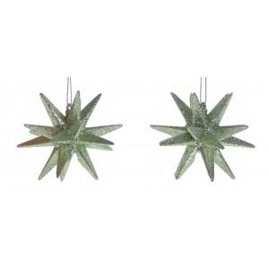 Vianočná ozdoba na zavesenie zelená v tvare hviezdy s trblietkami 2 ks v balení 7 x 7 x 7 cm 35568