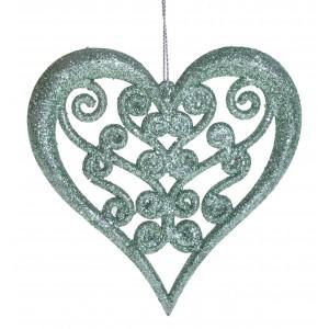 Vianočná ozdoba na zavesenie zelená v tvare srdca s trblietkami 11,5 x 11 cm 35567