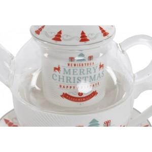 Vianočná porcelánová šálka s tanierikom a sitkom 32663