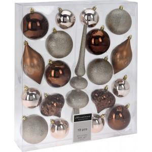 Vianočné gule v sade v hnedej farbe 19 ks v balení 35074