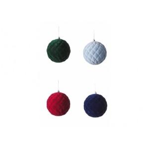 Vianočné gule zamatové v štyroch farbách 15 cm 32876