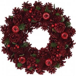Veniec vianočný červený 34cm 32043