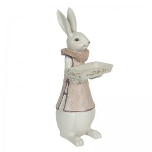 Zajac chlapec s táckou v ruke polyresin Clayre-Eef 15x13x37 cm 33250