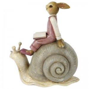 Zajačik v ružových šatách s knižkou sediaci na slimákovi z polyresinu 15x8x16 cm Clayre-Eef 33296