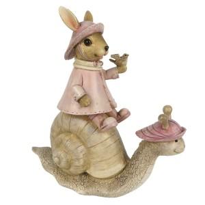 Zajačik v ružových šatách s vtáčikom v rukách sediaci na slimákovi z polyresinu 15x6x15 cm Clayre-Eef 33303