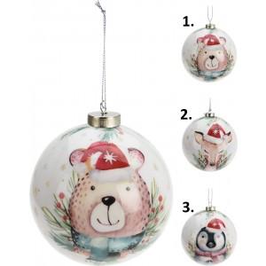 Závesná vianočná guľa s motívom zvieratiek 8 cm 35060