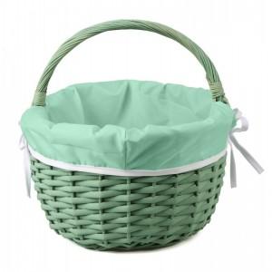 Zelený prútený košík s rúčkou vystlaný zelenou látkou 48x34x21/34h cm 32193